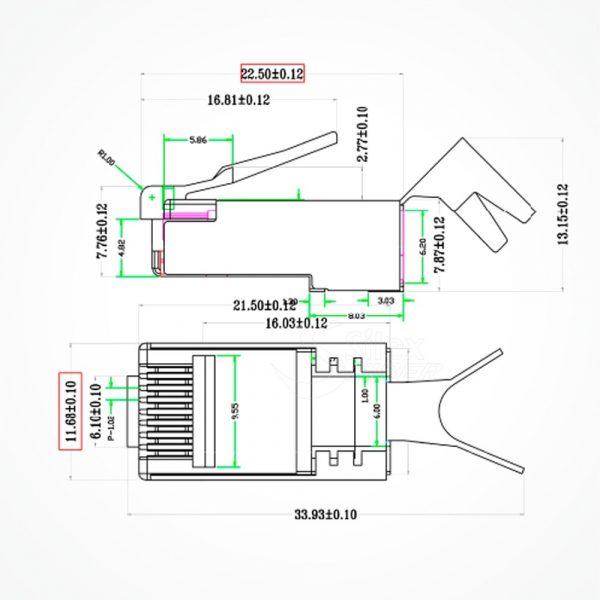 Conector Blindado RJ49 Cat6 y Cat7
