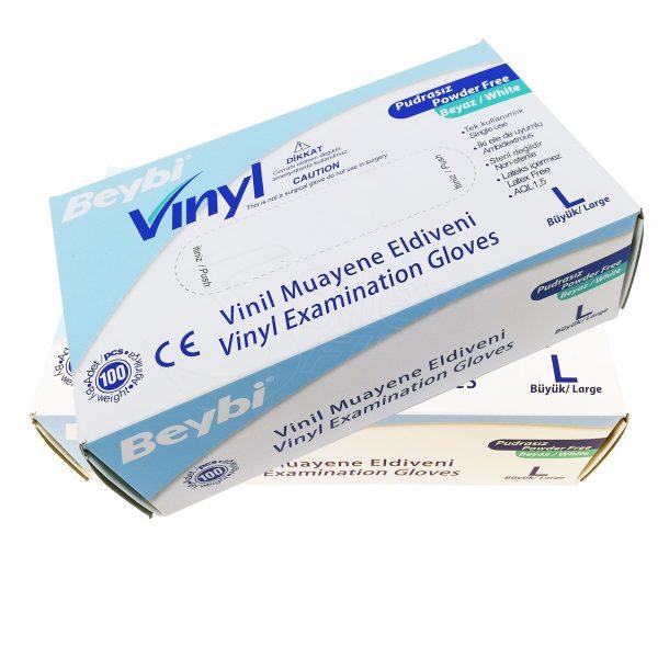 Guantes de Vinilo RV05 Caja de 100pc Beybi Azul Talla S